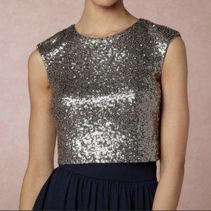Jenny Yoo Sequin Metallic Gray Kaity Crop Top SZ S